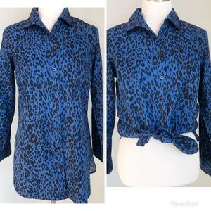 Chico's Blue Leopard Print Button Up Shirt, Sz. 0